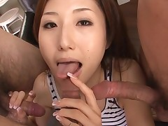 Slut Oriental mama deepthroats large dick and her slit fingered